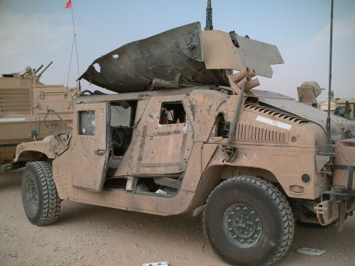 A 101st humvee after an IED strike, fall 2005.