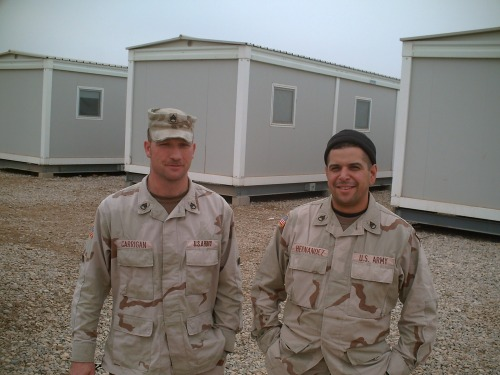 Me and one of my teammates after our final convoy in Iraq.