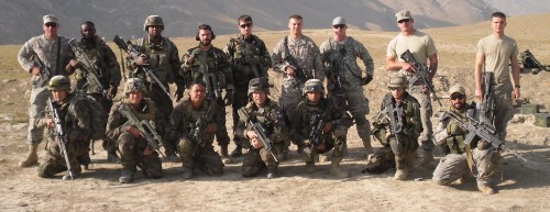 Staff Sergeant David Moore, standing third from right. I'm kneeling at far right.