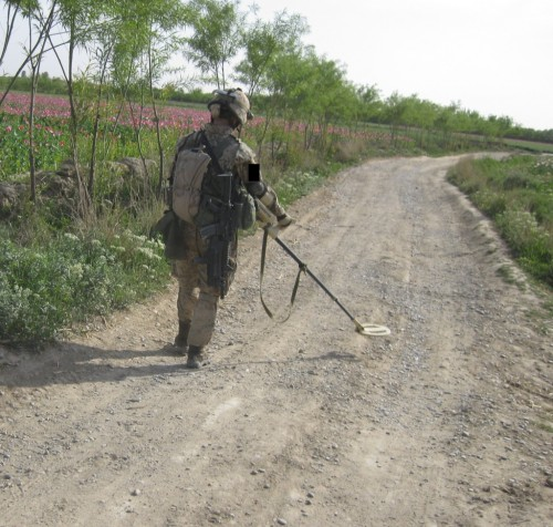 Mary sweeping for IEDs in Helmand Province