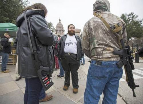Courageous Open Carry warriors at the Austin rally