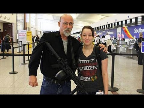 Airports are dens of crime and you need an AR-15 to defend yourself at them. Which is why it totally makes sense that you'd take your teenage daughter to this highly dangerous place.